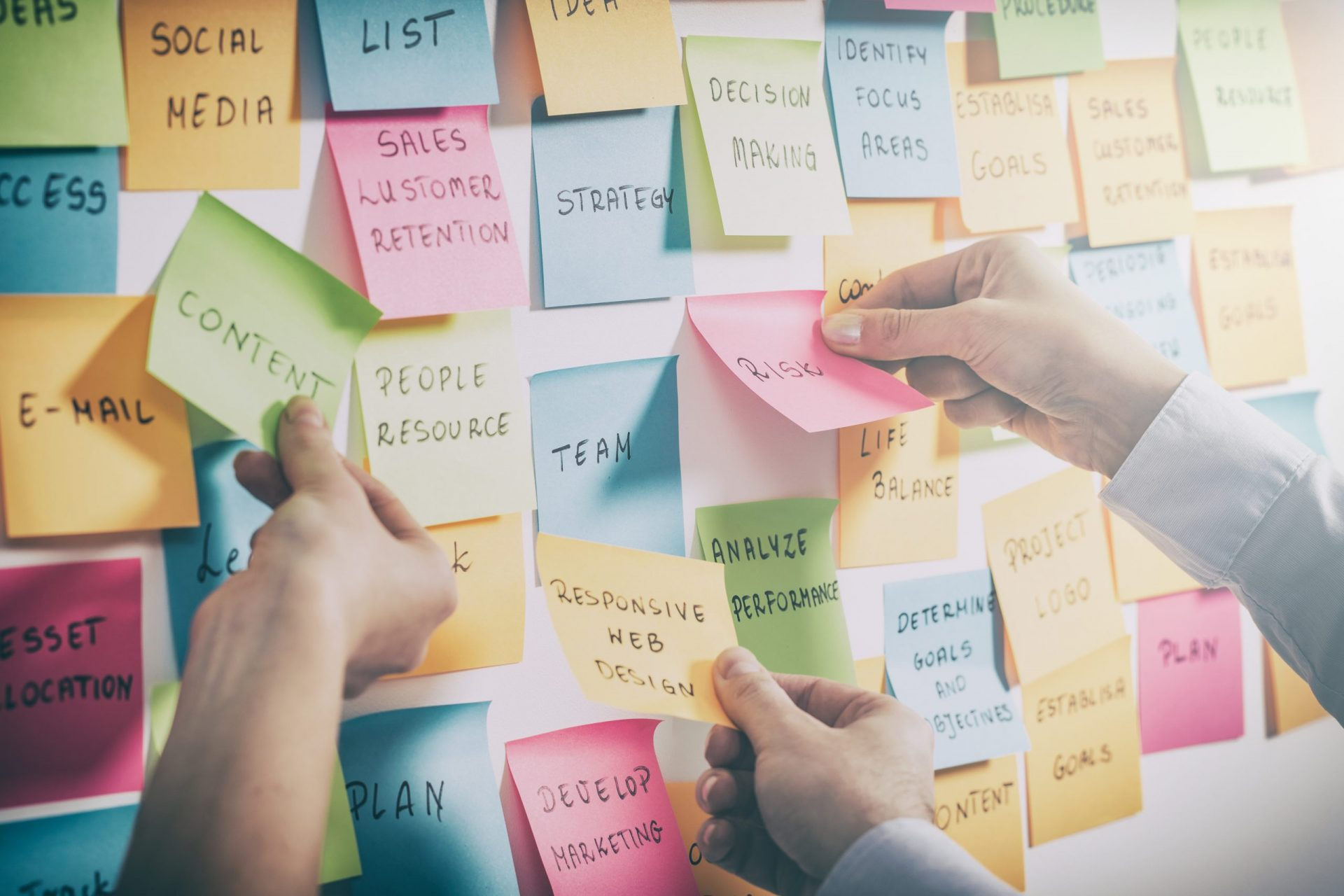 brainstorming brainstorm strategy workshop business note notes sticky - stock image